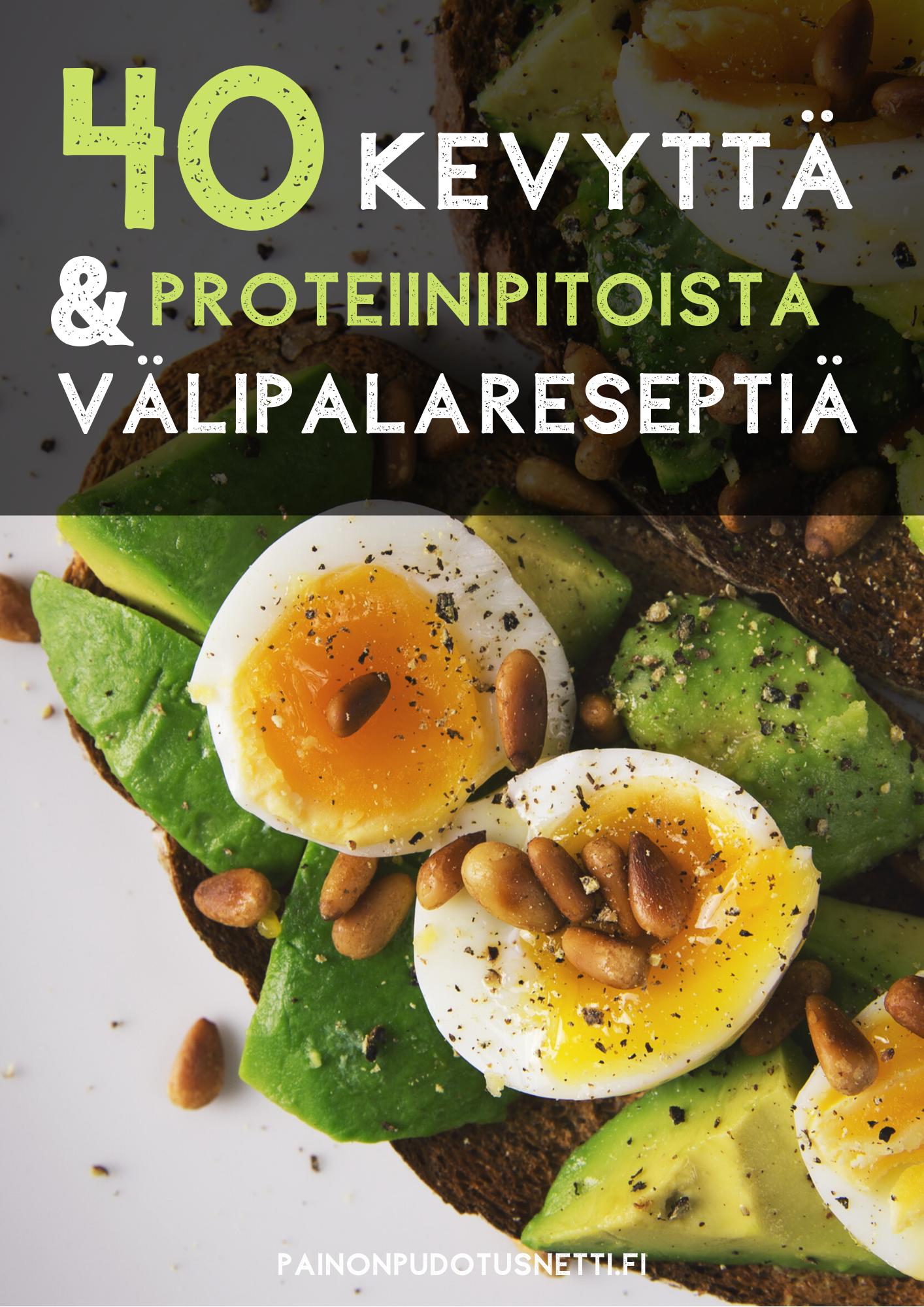 40 kevyttä & proteiinipitoista välipalaa! -reseptikirja